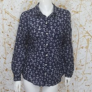 Old Navy semi sheer button down anchor print shirt